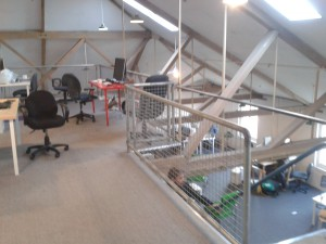 Inside the upstairs of our new office.